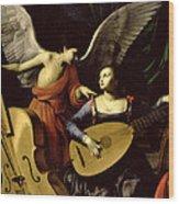 Saint Cecilia And The Angel Wood Print