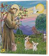 Saint Francis Blesses A Corgi And Her Pup Wood Print