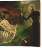 Saint Francis Borgia Helping A Dying Impenitent Wood Print