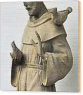 Saint Francis Of Assisi Statue With Birds Wood Print