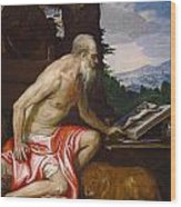Saint Jerome In The Wilderness Wood Print