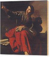 Saint John The Evangelist At Patmos Wood Print