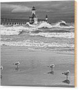 Saint Joseph Michigan Lighthouses Stormy Day At Silver Beach I Bw Wood Print