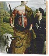 Saint Justina With The Unicorn Wood Print