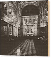 Saint Louis Cathedral New Orleans Black And White Wood Print