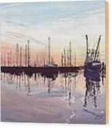 Saint Marys Marina   Shadows Light And Fire Wood Print