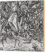 Saint Michael And The Dragon Wood Print
