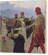 Saint Nicholas Of Myra Saves Three Innocents From Death Wood Print