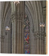 Saint Patrick's Cathedral Stained Glass Window Wood Print