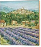 Saint Paul De Vence And Lavender Wood Print