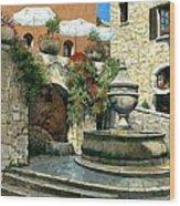 Saint Paul De Vence Fountain Wood Print