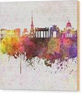 Saint Petersburg Skyline In Watercolor Background Wood Print