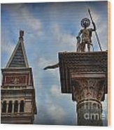 Saint Theodore Standing Guard Wood Print by Lee Dos Santos