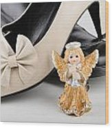 Saint Valentine Angel With Two Shoes Wood Print