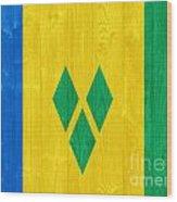 Saint Vincent And The Grenadines Flag Wood Print