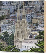 Saints Peter And Paul Church In San Francisco Wood Print