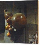 Sake Gourd Bottles From Japan On Corner Wood Print