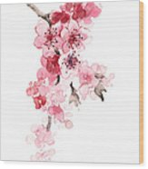 Sakura Flowers Watercolor Art Print Painting Wood Print