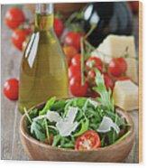 Salad With Arugula Wood Print