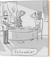 Salamlier -- A Waiter Slices Salami For Two Wood Print