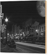 Salem Ohio Winter Moon Wood Print