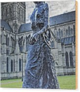 Salisbury Cathedral And The Walking Madonna 2 Wood Print