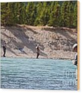 Salmon Fishing Wood Print by Chris Heitstuman