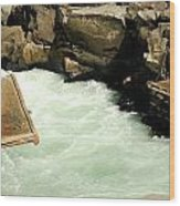 Salmon Fishing Platforms Wood Print by Mamie Gunning