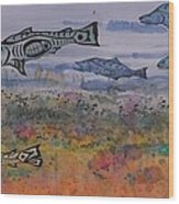 Salmon In The Stream Wood Print by Carolyn Doe