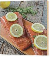 Salmon On A Cutting Board With Lemon Wood Print