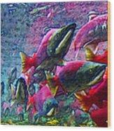 Salmon Run - Square - 2013-0103 Wood Print