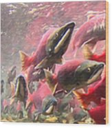 Salmon Run - Square - Painterly - 2013-0103 Wood Print by Wingsdomain Art and Photography