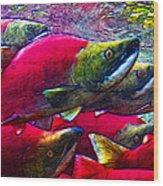 Salmon Run Wood Print