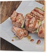 Salmon Teriyaki Skewers Wood Print