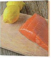 Salmon With Lemons On Wood Background Wood Print