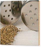 Salt And Pepper Shaker Spilled Wood Print