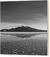 Salt Cloud Reflection Black And White Wood Print