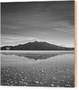 Salt Cloud Reflection Black And White Select Focus Wood Print