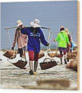 Salt Farm In Thailand Wood Print