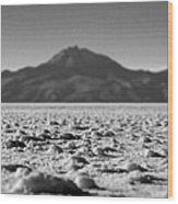 Salt Flat Surface Black And White Wood Print