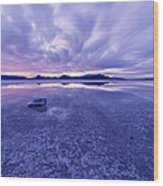 Salt Flats After Dark Wood Print