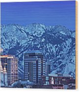Salt Lake City Skyline Wood Print by Brian Jannsen