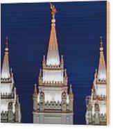 Salt Lake Lds Mormon Temple At Night Wood Print
