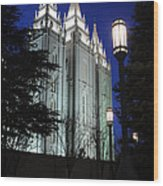 Salt Lake Mormon Temple At Night Wood Print