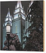Salt Lake Temple In The Snow Wood Print