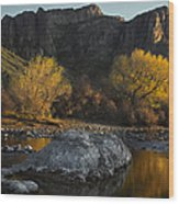 Salt River Fall Foliage Wood Print by Dave Dilli