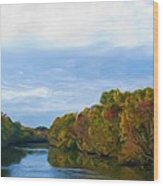 Saluda River In The Fall Wood Print