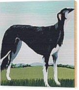 Saluki Cross Wood Print by Maggie Rowe