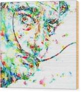 Salvador Dali Watercolor Portrait Wood Print
