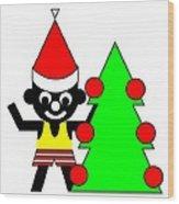 Sam And His Christmas Tree Wish You A Merry Christmas Wood Print